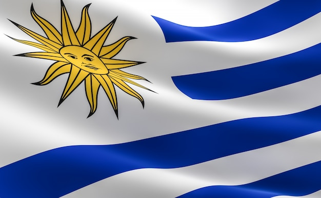 Vlag van uruguay. illustratie van de vlag van de uruguayaanse vlag.
