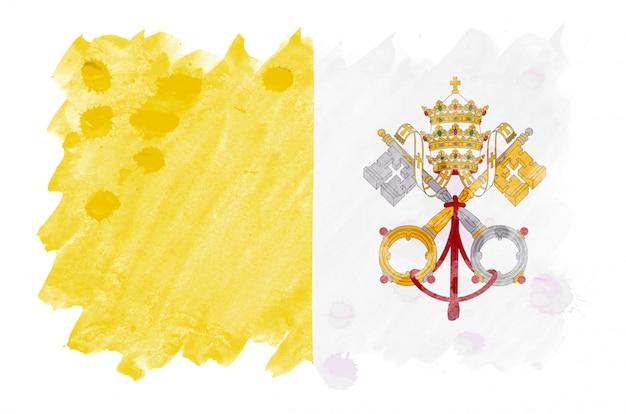 Vlag van vaticaanstad staat afgebeeld in vloeibare aquarelstijl geïsoleerd op wit