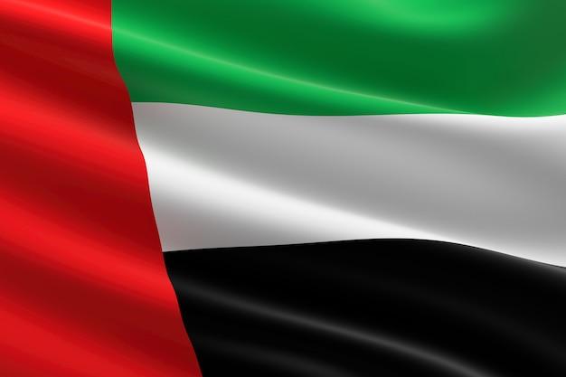 Vlag van verenigde arabische emiraten. 3d-afbeelding van de vlag van de vae zwaaien.
