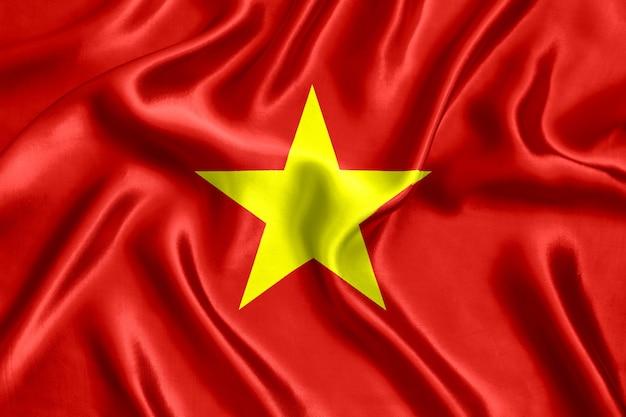Vlag van vietnam zijde close-up