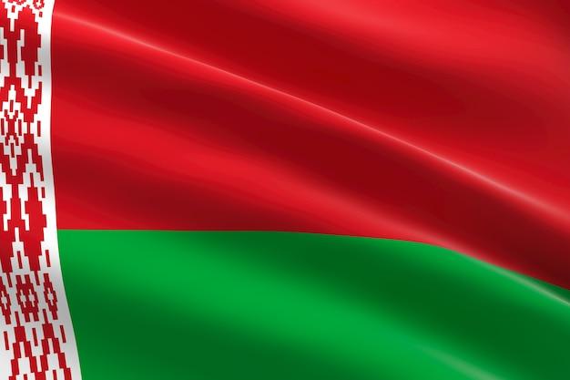 Vlag van wit-rusland 3d-afbeelding van de wit-russische vlag zwaaien