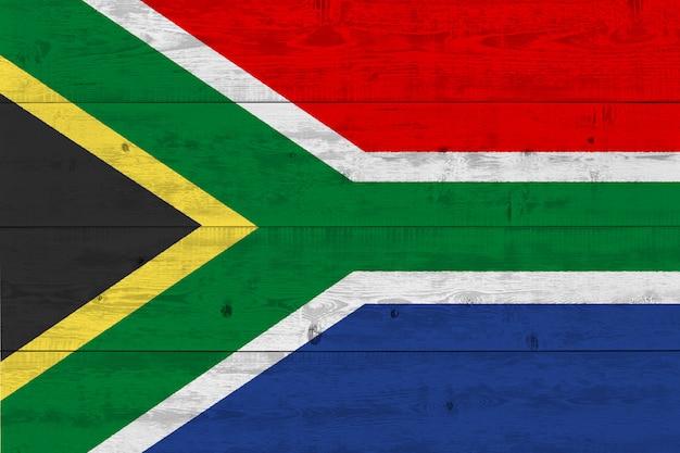 Vlag van zuid-afrika geschilderd op oude houten plank