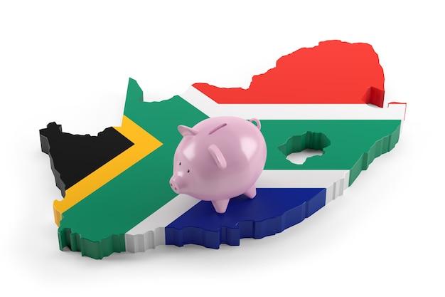 Vlag van zuid-afrika kaart op spaarvarken. 3d illustratie