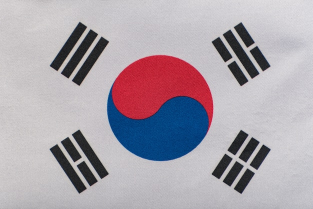 Vlag van zuid-korea close-up. nationaal symbool van de republiek korea
