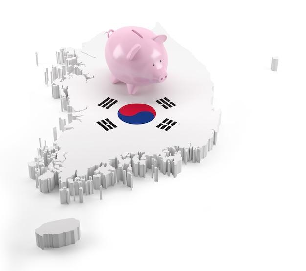 Vlag van zuid-korea kaart op piggy bank. 3d illustratie
