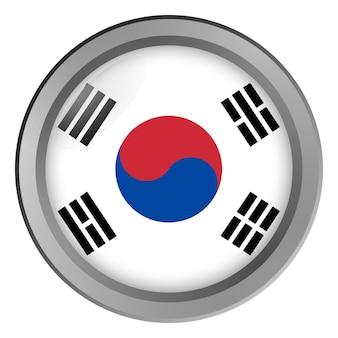 Vlag van zuid-korea rond als knop