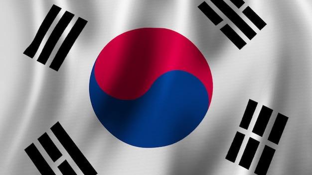 Vlag van zuid-korea zwaaien close-up 3d-rendering met afbeelding van hoge kwaliteit met stof textuur