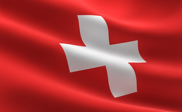 Vlag van zwitserland. illustratie van de zwitserse vlag zwaaien.