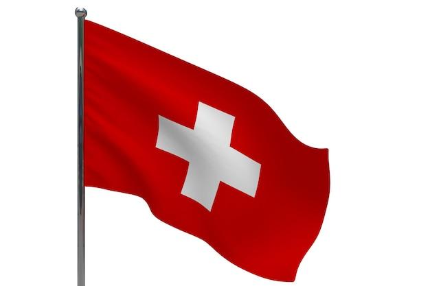 Vlag van zwitserland op paal. metalen vlaggenmast. nationale vlag van zwitserland 3d illustratie op wit
