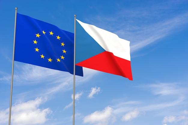 Vlaggen van de europese unie en tsjechië over blauwe hemelachtergrond. 3d illustratie
