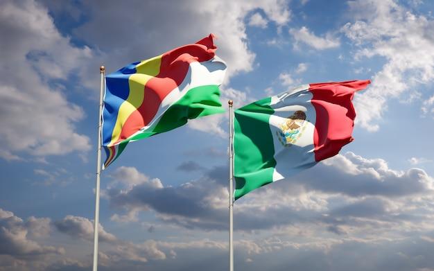 Vlaggen van de seychellen en mexico. 3d-illustraties