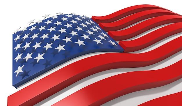 Vlaggen van de verenigde staten van amerika 3d-rendering