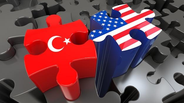Vlaggen van de vs en turkije op puzzelstukjes. politiek relatieconcept. 3d-rendering
