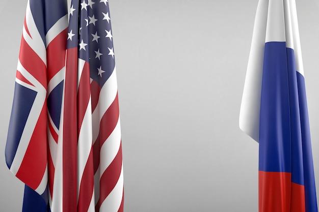 Vlaggen van de vs, het vk en rusland