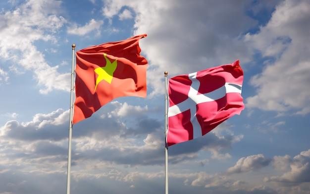 Vlaggen van denemarken en denemarken. 3d-illustraties
