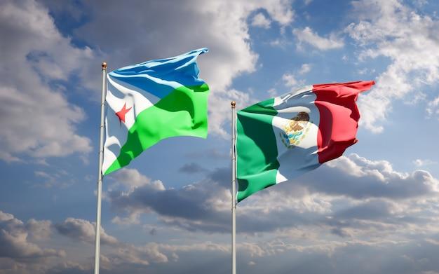 Vlaggen van djibouti en mexico. 3d-illustraties