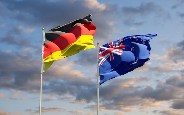 Vlaggen van duitsland en nieuw-zeeland. 3d-illustraties