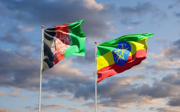 Vlaggen van ethiopië en afghanistan. 3d-illustraties