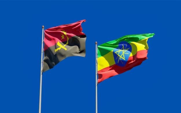 Vlaggen van ethiopië en angola. 3d-illustraties