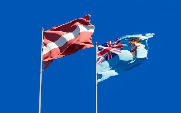 Vlaggen van fiji en letland. 3d-illustraties