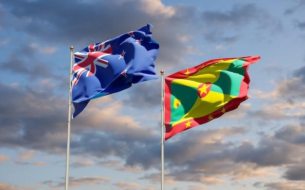 Vlaggen van grenada en nieuw-zeeland. 3d-illustraties