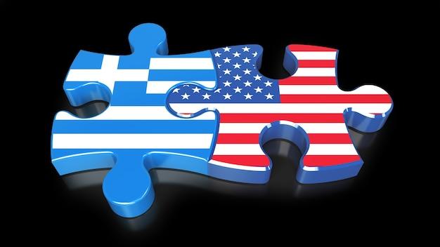 Vlaggen van griekenland en de vs op puzzelstukjes. politiek relatieconcept. 3d-rendering