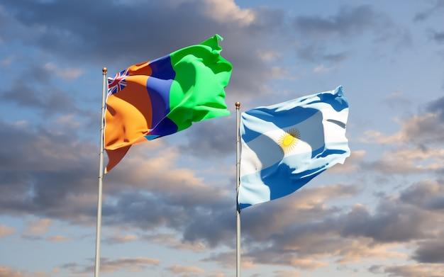 Vlaggen van het sultanaat van m'simbati en argentinië. 3d-illustraties
