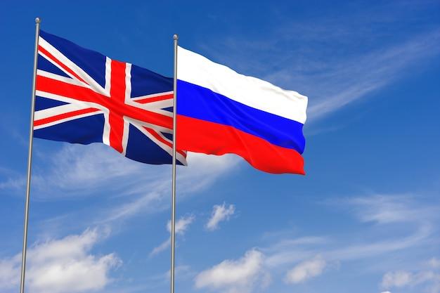 Vlaggen van het verenigd koninkrijk en rusland over blauwe hemelachtergrond. 3d illustratie