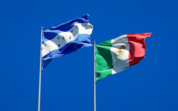 Vlaggen van honduras en mexico. 3d-illustraties