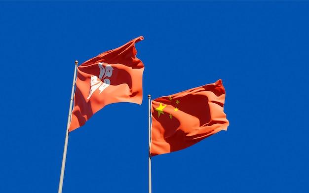 Vlaggen van hong kong hk en china. 3d-illustraties