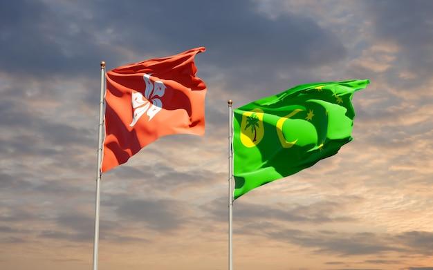 Vlaggen van hong kong hk en cocos island. 3d-illustraties