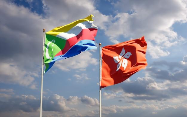 Vlaggen van hong kong hk en de comoren. 3d-illustraties