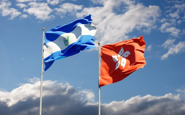 Vlaggen van hong kong hk en el salvador. 3d-illustraties