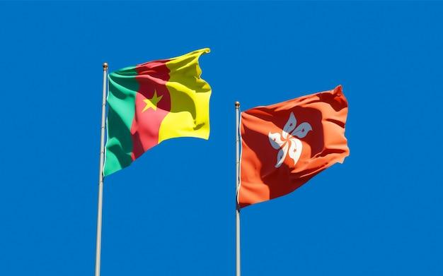 Vlaggen van hong kong hk en kameroen.