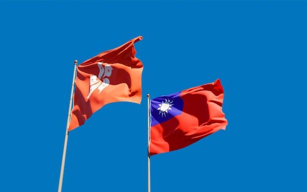 Vlaggen van hong kong hk en taiwan. 3d-illustraties