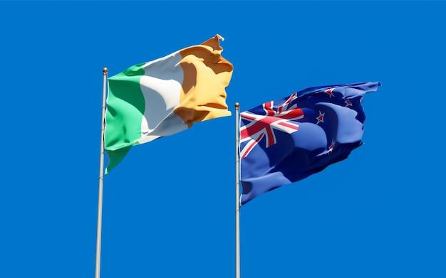 Vlaggen van ierland en nieuw-zeeland. 3d-illustraties