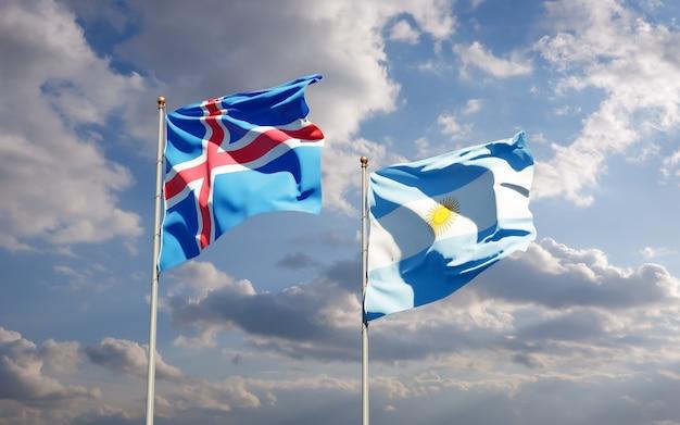 Vlaggen van ijsland en argentinië. 3d-illustraties