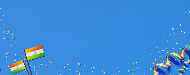 Vlaggen van india met driekleurig lint, sterren versierd op blauwe achtergrond en kopie ruimte.