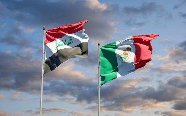 Vlaggen van irak en mexico. 3d-illustraties