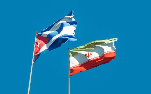 Vlaggen van iran en cuba. 3d-illustraties