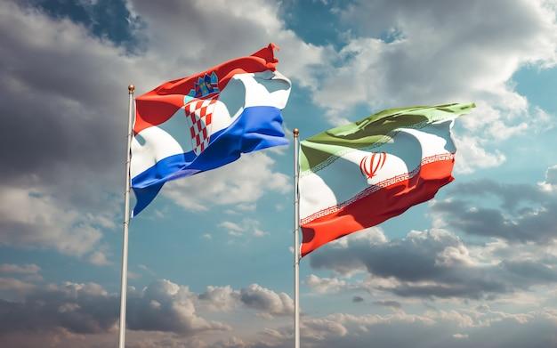 Vlaggen van iran en kroatië. 3d-illustraties