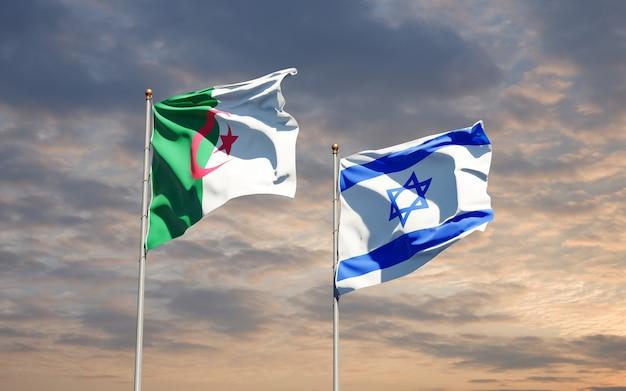 Vlaggen van israël en algerije samen op hemelachtergrond