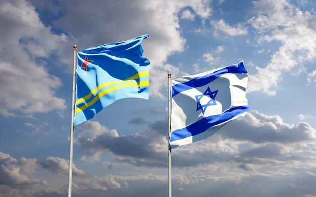 Vlaggen van israël en aruba samen op hemelachtergrond