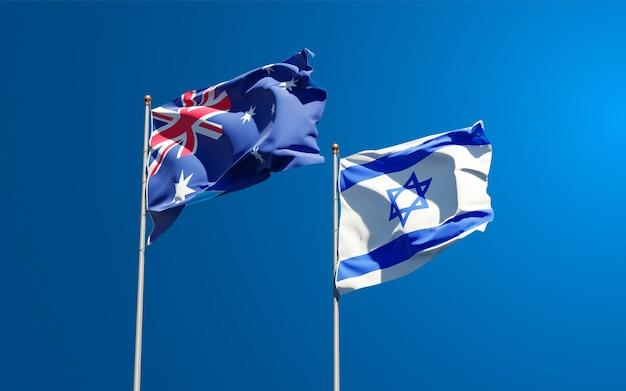 Vlaggen van israël en australië samen op hemelachtergrond