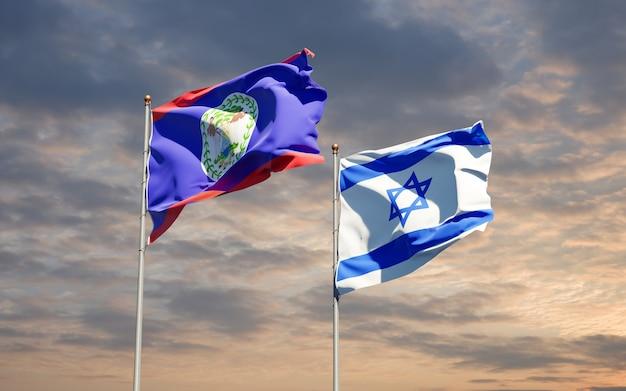 Vlaggen van israël en belieze samen op hemelachtergrond
