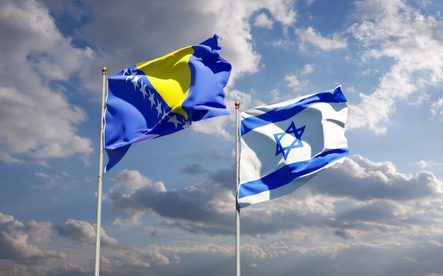 Vlaggen van israël en bosnië en herzegovina samen op hemelachtergrond