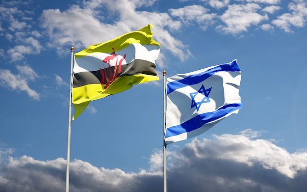 Vlaggen van israël en brunei samen op hemelachtergrond