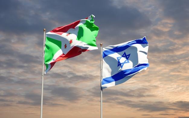 Vlaggen van israël en burundi samen op hemelachtergrond