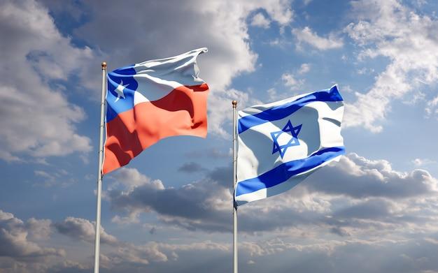 Vlaggen van israël en chili samen op hemelachtergrond