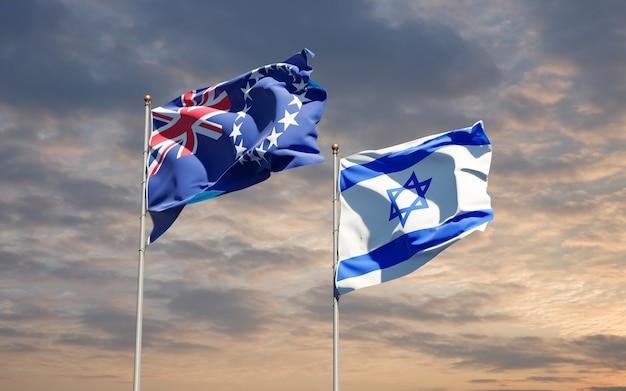 Vlaggen van israël en cook island samen op hemelachtergrond